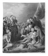 The Death Of General Wolfe, 1759, From The History Of The United States, Vol. I, By Charles Mackay Fleece Blanket