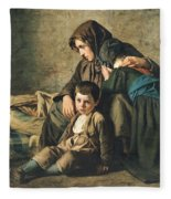 The Death Of The Pauper Oil On Canvas Fleece Blanket