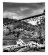 The Deception Pass Bridge II Bw Fleece Blanket
