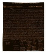 The Declaration Of Independence In Negative Orange Fleece Blanket