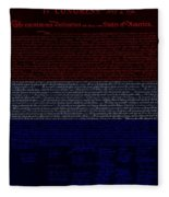 The Declaration Of Independence In Negative R W B 1 Fleece Blanket