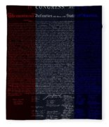 The Declaration Of Independence In Negative R W B Fleece Blanket