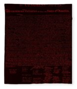 The Declaration Of Independence In Negative Red Fleece Blanket