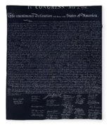 The Declaration Of Independence In Negative Red White And Blue Fleece Blanket