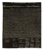 The Declaration Of Independence In Negative Sepia Fleece Blanket