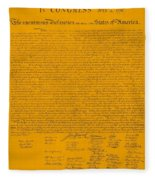 The Declaration Of Independence In Orange Fleece Blanket
