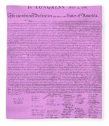 The Declaration Of Independence In Pink Fleece Blanket