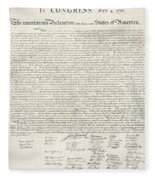 The Declaration Of Independence In Red White And Blue Fleece Blanket