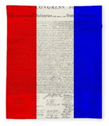 The Declaration Of Independence In Red White Blue Fleece Blanket
