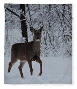 The Deer In The Snow Fleece Blanket