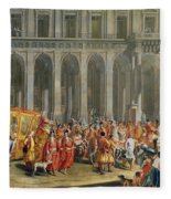 The Departure Of Alois Thomas Von Harrach, Viceroy Of Naples 1669-1742 From The Palazzo Reale Di Fleece Blanket