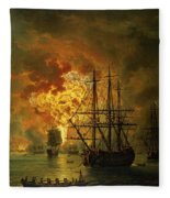 The Destruction Of The Turkish Fleet At The Bay Of Chesma Fleece Blanket