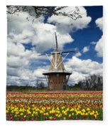 The Dezwaan Dutch Windmill Among The Tulips On Windmill Island In Holland Michigan Fleece Blanket