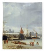The Docks On The Bank At Greenwich  Fleece Blanket