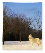 The Dog On The Hill Fleece Blanket