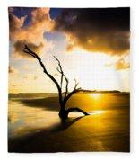 The Driftwood Tree Folly Beach Fleece Blanket