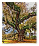 The Dueling Oak Painted Fleece Blanket