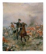 The Duke Of Wellington At Waterloo Fleece Blanket