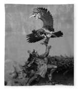 The Eagle And The Indian In Black And White Fleece Blanket