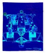 The Eagle Apollo Lunar Module In Blue Fleece Blanket