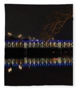 The East Falls Bridge At Night - Philadelphia Fleece Blanket