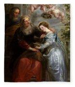 The Education Of The Virgin Fleece Blanket