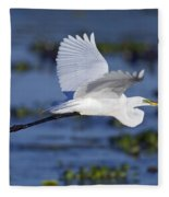 The Elegant Great Egret In Flight Fleece Blanket