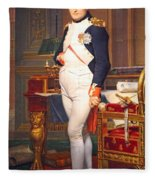 The Emperor Napoleon In His Study At The Tuileries By Jacques Louis David Fleece Blanket