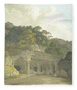 The Entrance To The Elephanta Cave Fleece Blanket