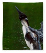 The Ever Elusive Loon Coming Out Of Dive Fleece Blanket