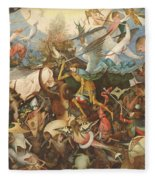 The Fall Of The Rebel Angels, 1562 Oil On Panel Fleece Blanket