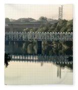 The Falls Bridge Over The Schuylkill River Fleece Blanket