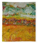 The Farmland Oil On Canvas Fleece Blanket