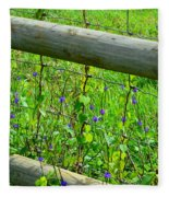 The Fence At The Meadow Fleece Blanket