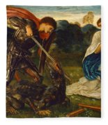 The Fight. St George Kills The Dragon Vi Fleece Blanket