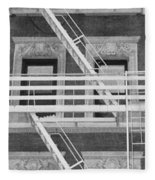 The Fire Escape In Black And White Fleece Blanket