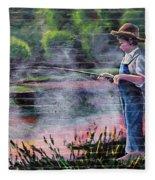 The Fishing Boy Fleece Blanket