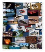 The Fishing Hole Collage Rectangle Fleece Blanket