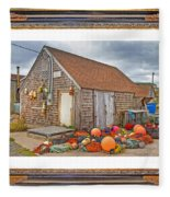 The Fishing Village Scene Fleece Blanket