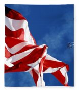 The Flag And The Blue Angels Fleece Blanket