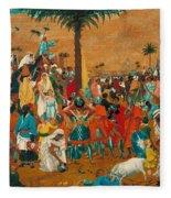 The Flight Out Of Egypt Fleece Blanket