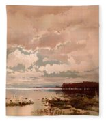The Flood In The Darling 1890 Fleece Blanket