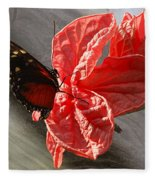 The Flower And The Butterfly Fleece Blanket