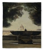 The Fountain Of The French Academy In Rome, 1826-27 Oil On Canvas Fleece Blanket