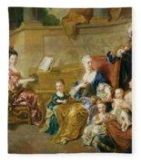 The Franqueville Family, 1711 Oil On Canvas Fleece Blanket