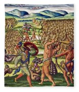 The French Help The Indians In Battle Fleece Blanket