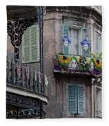 The French Quarter During Mardi Gras Fleece Blanket
