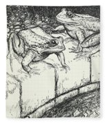 The Frogs And The Well Fleece Blanket