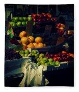 The Fruit Seller - New York City Street Scene Fleece Blanket