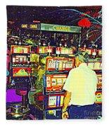 The Gambler Meets The One Armed Bandit In Casino Royale Standoff At High Noon Urban Casino Art Scene Fleece Blanket